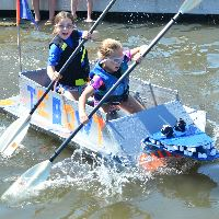 Girls in Cardboard Boat